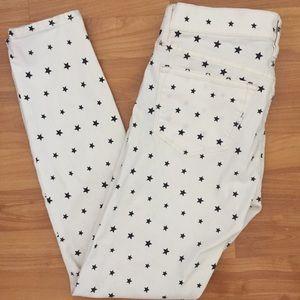 J. Crew white w/ blue stars toothpick jeans, Sz 26